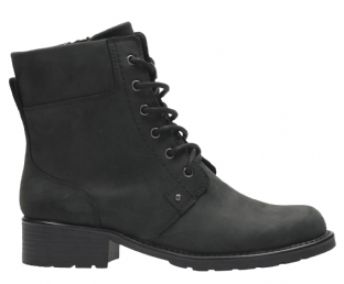 Clarks Orinoco Spice Black Leather Womens Boots